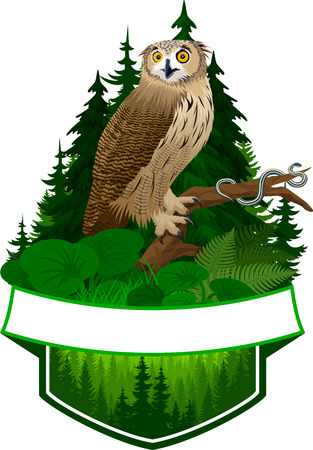 vector woodland emblem with eagle owl and common garter snake Ilustracja