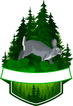 vector hunting woodland emblem with gray rabbit