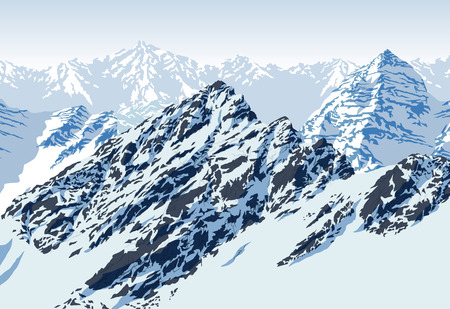 vector rocky mountains landscape