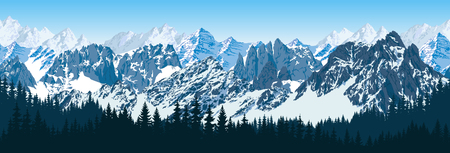 vecteur karakoram montagnes himalayennes avec panorama forestier