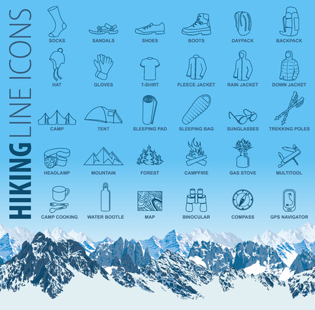 vector set of thin line hiking camping travel icons Ilustrace