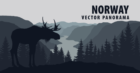 vector panorama of norway with moose Иллюстрация