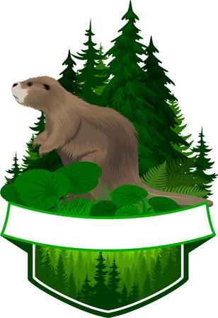 vector hunting woodland emblem with beaver Imagens - 122423326