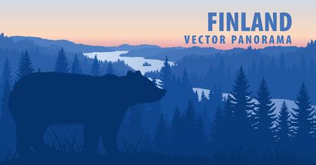 panorama vettoriale di orso bruno