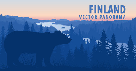 vector panorama of brown bear Ilustrace