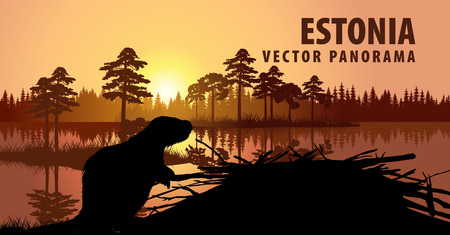 vector panorama of Estonia with beaver