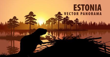 vectorpanorama van Estland met bever