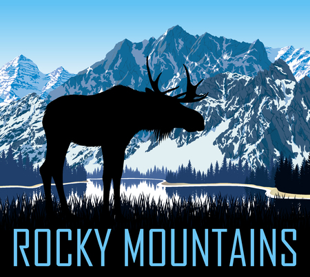 vector rocky mountains with moose Иллюстрация