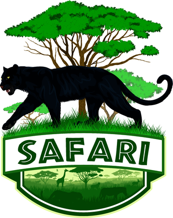 vector african savannah safari emblem with black panther