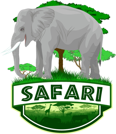 vector african savannah safari emblem with african elephant