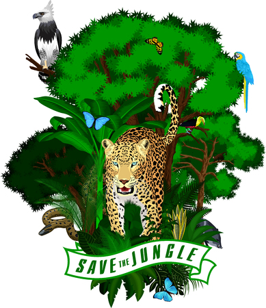 Vector Jungle Emblem with harpy, jaguar, anaconda, blue macaw ara, monkey and butterflies