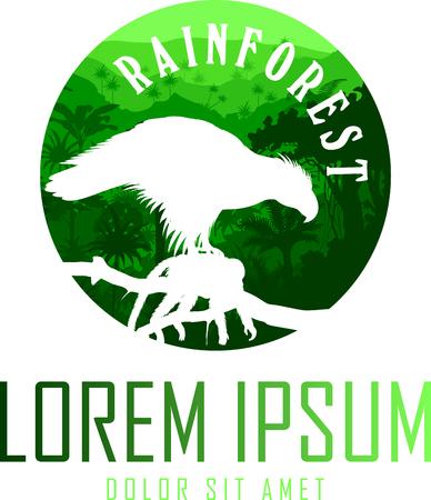 vector jungle rainforest emblem with philippine Eagle Illustration