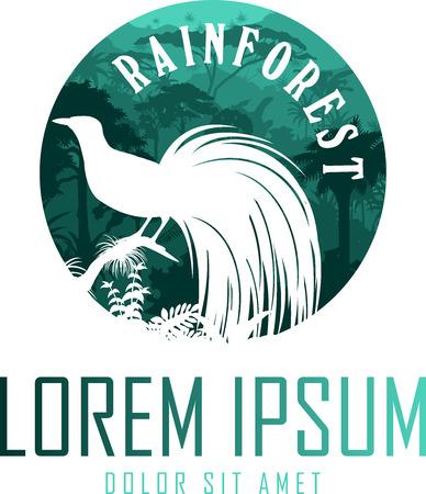vector jungle rainforest emblem with lesser bird of paradise