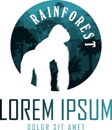 vector jungle rainforest emblem with male gorilla Ilustrace