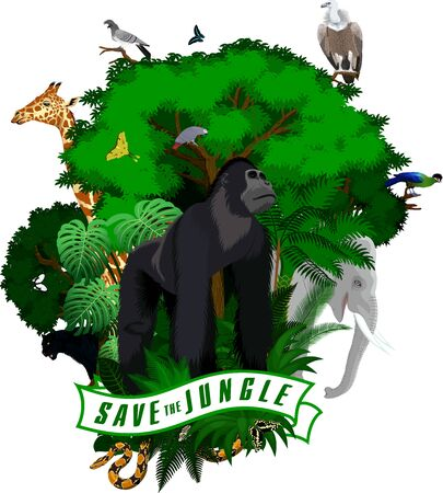 Vector Jungle Emblem with male gorilla, elephant, leopard black panther, giraffe, vulture, parrot, python, turaco and butterflies