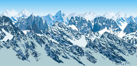 vector mountains karakoram himalayan illustration Ilustração