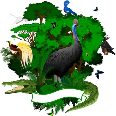 Emblem with crocodile, Fruit Bat, victoria crowned pigeon, cassowary, heron, Lesser