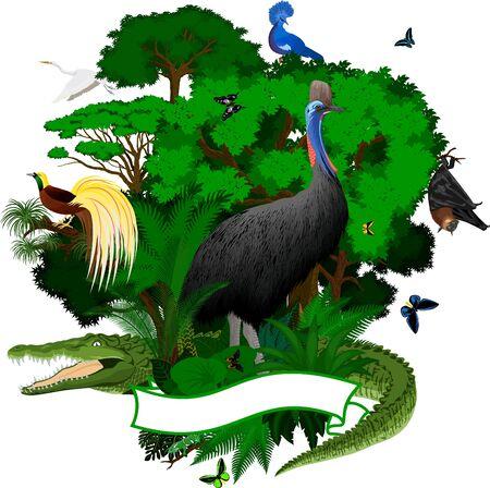 Emblem with crocodile, Fruit Bat, victoria crowned pigeon, cassowary, heron, Lesser 版權商用圖片 - 125605649