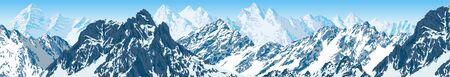 vector karakoram nepal himalayan panorama illustration