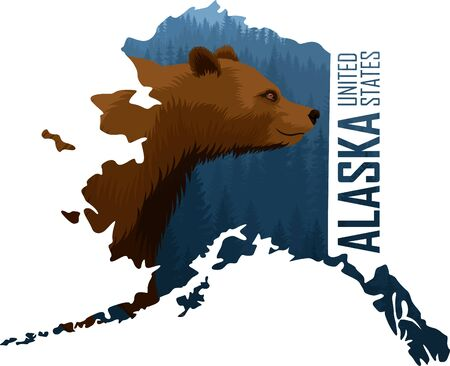 vector Alaska - American state map with grizzly bear Illustration