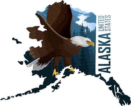 vector Alaska - American state map with bald eagle