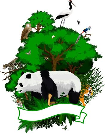 China Jungle Emblem with Red-crowned crane, eagle owl, tiger giant, panda bear, North China Leopard, Clouded Leopard, Tibetan Macaque, lady amhersts pheasant and butterflies