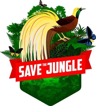 vecteur, jungle, forêt tropicale, emblème, à, petit oiseau de paradis, et, oiseaux, papillons