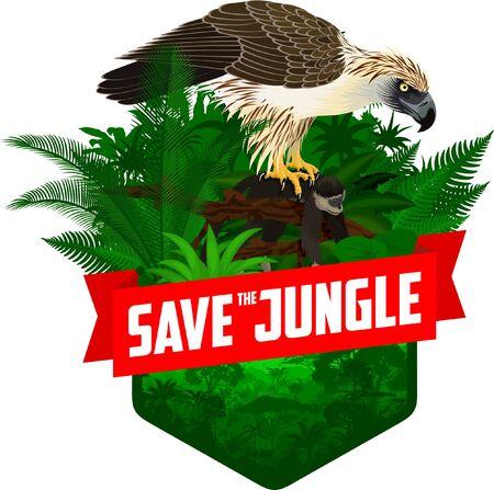 vector jungle rainforest emblem with philippine eagle - pithecophaga jefferyi with monkey