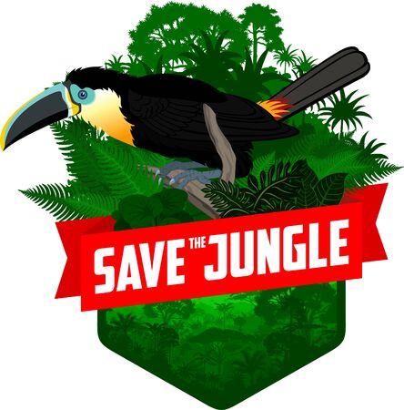 vector jungle rainforest emblem with channel-billed toucan