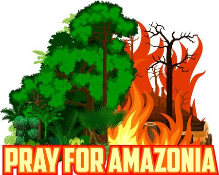 Pray for Amazonia Save Green Jungle Rainforest - Deforestation Concept Landscape Vector Illustration