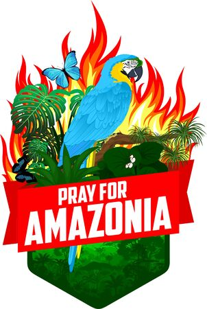 Pray for Amazonia - Save Jungle Rainforest - Deforestation Concept Vector Illustration emblem with parrot blue-and-yellow macaw, Morpho menelaus, Amazon beauty and Glasswing butterfly Illustration