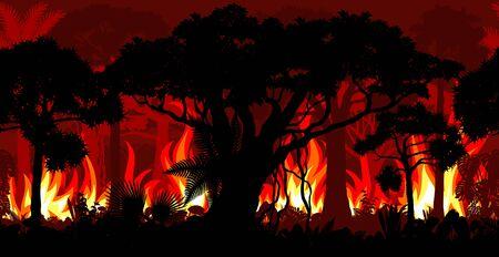 Amazonia rainforest Jungle in Brazil is burning - fire Deforestation Seamless Vector Illustration  イラスト・ベクター素材