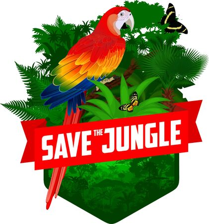 vector jungle rainforest emblem with red scarlet Macaw ara parrot and butterflies