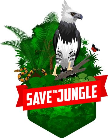 vector jungle rainforest emblem with harpy eagle