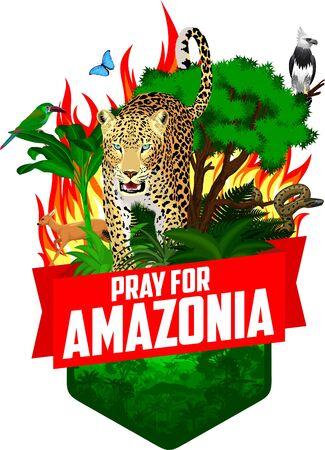 Pray for Amazonia - Save Jungle Rainforest - Deforestation Concept Vector Illustration emblem with harpy eagle, jaguar, anaconda, green toucanet and blue morpho butterfly