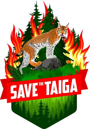 Save the taiga forest woodland wildfire - Deforestation Concept Vector Illustration emblem with lynx Illustration