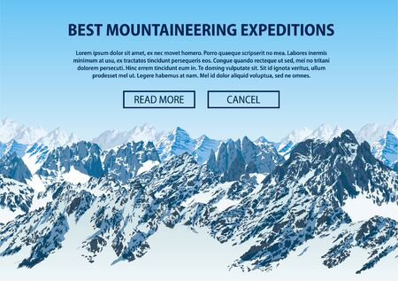 Vector climbing and mountaineering background theme, Trekking, hiking, and mountaineering illustration. Extreme travel expeditions outdoor trip concept.