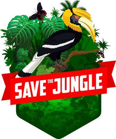 vector jungle rainforest emblem with great hornbill and butterflies