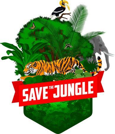 vector jungle rainforest emblem with tiger, elephant, great hornbill and butterflies Illustration