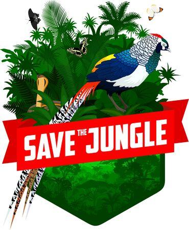 Vector jungle emblem with diamond pheasant  イラスト・ベクター素材
