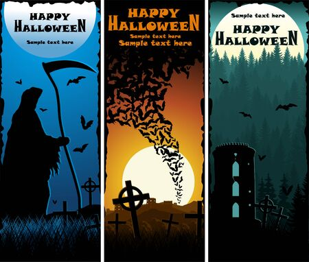 Vector Scary Halloween Banners with Grim Reaper, Bats and tower in woodland