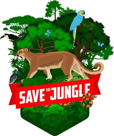 vector jungle rainforest emblem with puma cougar, toucan, parrot blue-and-yellow macaw, python and blue morpho butterfly
