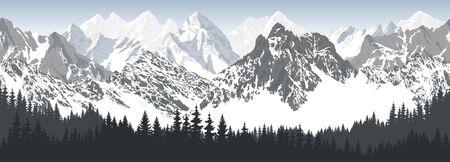 vector seamless mountains with woodland karakoram himalayan panorama background  イラスト・ベクター素材