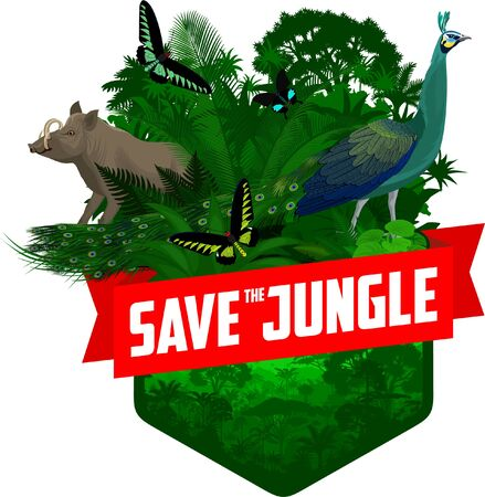 vector jungle rainforest emblem with Green peafowl, North Sulawesi babirusa and butterflies