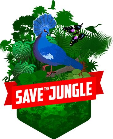 vector jungle rainforest emblem with victoria crowned pigeon, lesser bird of paradise, eagle, snake and butterfly  イラスト・ベクター素材