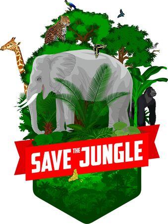 vector jungle rainforest emblem with elephant, male gorilla, leopard, giraffe, Hartlaubs turaco and butterflies  イラスト・ベクター素材
