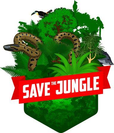 vector jungle rainforest emblem with anaconda, toucan, macaw ara, harpy eagle, monkey and peccary  イラスト・ベクター素材