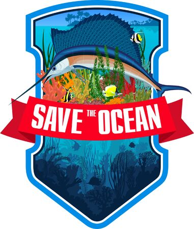 Vector emblem with coral reef, swordfish Atlantic sailfish and colorful tropical fish