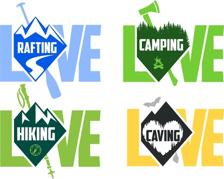 set of vector camping, hiking, caving and rafting emblems labels
