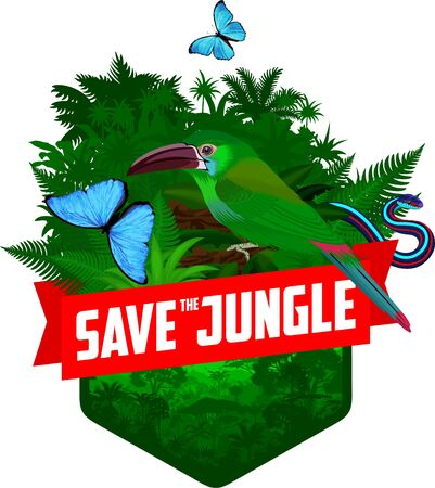 vector jungle rainforest emblem with green toucanet, blue Morpho butterfly and snake